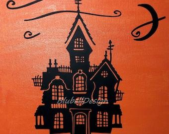 Haunted house Halloween collage kit, children's activity, collage for child, children's activity for Halloween, haunted house