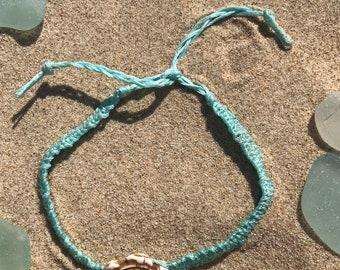 Blue woven turtle anklet/bracelet