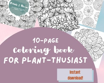 Flower coloring book, adult coloring book, printable, instant download, therapy book