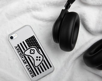 American Gamer™, Clear iPhone Case w/ Black Logo