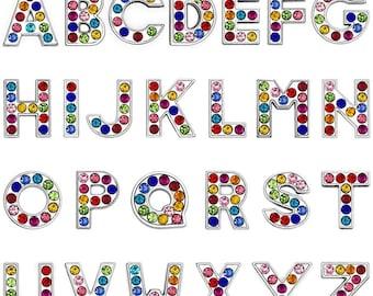 A-Z Multi Colored Rainbow Shine Rhinestone Letter Pendants Alphabet Initial Enamel Metal Charm 1 PC Classy Free Shipping Great Gift