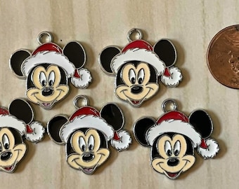 M MOUSE Head Red and White Christmas Hat Resin Enamel Metal Charm 1 PC Pendant Classic Character Cartoon