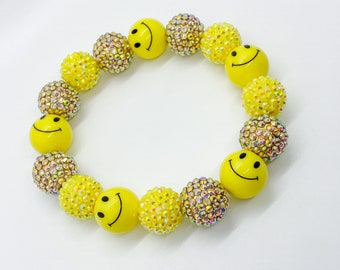 George Michael GRILL Gold Rhinestones Yellow and Black Smiley Face 20MM Bubble Bead Necklace with Free Charms! Great Gift