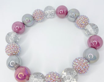 SWEATER WEATHER Dusty Pink Mauve Clear Gray Chunky Rhinestones Glitter Iridescent 20MM Bubble Bead Necklace with FREE Charms!