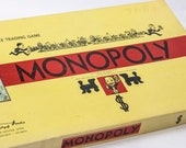 Vintage Monopoly Board Game - Wooden Pieces - 100 Complete 1954 Rare