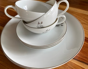 Fukagawa Arita Pattern 715.  Set of 2 dinner plates and set of 3 cups and saucers.