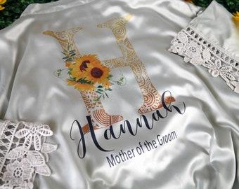 Customizable Bridesmaid Lace Robes, Bridesmaid Proposal, Wedding Party Robes, Bridal Robes, Bride Robe, Bridesmaid Gift,Customizable Apparel
