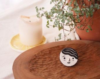 Handmade ceramic brooch, Ceramic face, Ceramic Brooch/Modern Jewelry/Ceramic Pin/Ceramic Jewelry/black Brooch/Illustrated Brooch/Face Brooch