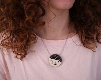 Ceramic pendant, face jewel, clay necklace, ceramic necklace, handmade jewelry/necklace illustration/illustrated ceramic/illustrated pendant