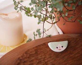 Handmade ceramic brooch, Ceramic face, Ceramic Brooch, Modern Jewelry, Ceramic Pin, Ceramic Jewelry, Half Moon Brooch, Illustrated Brooch
