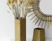1pc Bamboo Woven Hand Knitting Nordic Vase, Straw Flowerpot, Flower basket, Home Decor