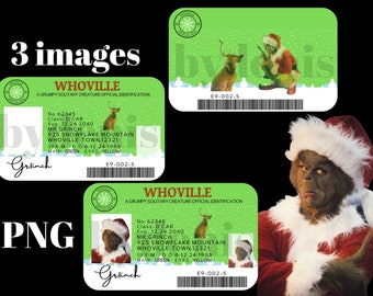Grinch ID Cards PNG, Sublimation Designs, Instant Digital Download, Christmas, Grinch