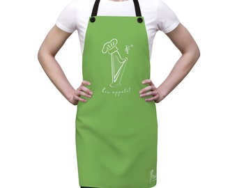 Apple Green Bon appetit Harp Apron (Available in 21 colors!) Unisex