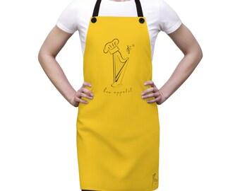Mustard Bon appetit Harp Apron (Available in 21 colors!) Unisex