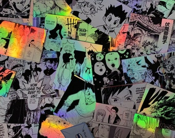 Holo manga panel stickers - 6 pieces in one pack - manga decoration- custom - manga collage