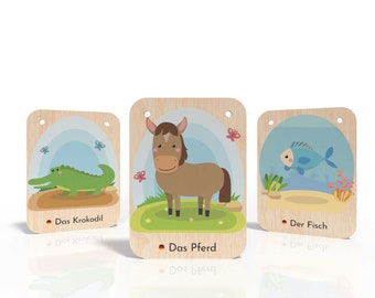 Wooden flashcards (German) - Montessori Toys - Language support for children - Animal cards