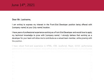 Cover Letter | Harvard, Amazon & Apple Interviews