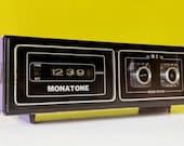 Vintage 1970 39 s Flip Roll Card Radio Alarm Clock - Original Purple Wood Psychedelic Space Age Funk Chic Mid Century