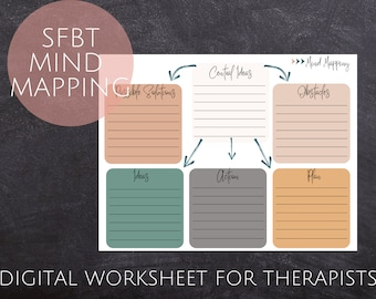 Solution Focused Brief Therapy Mind Mapping Worksheet for Therapists   Therapy Worksheets   Therapy Handouts   SFBT  Therapy Tools  Mind Map