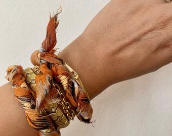 BiniBeca Orange and cream braided necklace, anklet, bracelet.