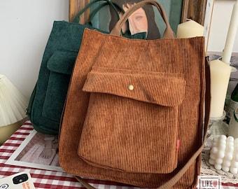 HappyLemonade Corduroy Shoulder Tote Bags-Canvas Tote Bag-Corduroy Crossbody- Messenger Bag-Everyday Bag- Casual Bag-School Bag Gift For Her