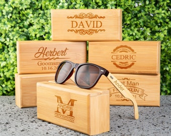 Groomsmen Gifts Personalized Sunglasses Custom Engraved Sunglasses Wood Sunglasses for men Best man Gift Groomsmen Proposal Gift for him