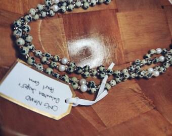 Dalmatian Jasper and Pearl Tantric Mala Necklace Ong Namo Mantra