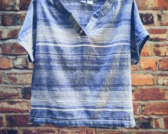 Blue and white striped linen comfortable resort yoga lifestyle top Kundalini practice Artisan NY