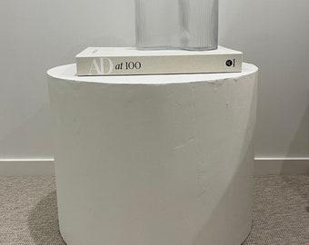 White Venetian Plaster Side Tables - Round