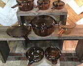Vintage Corning Ware Pyrex Brown or Amber Visions Glass Cookware Set, Saucepans and Skillet Replacement Pieces or Create Your Own Set