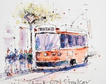 Watercolour Print - Toronto Streetcar