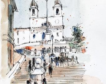 Watercolour Print - Spanish Steps, Rome