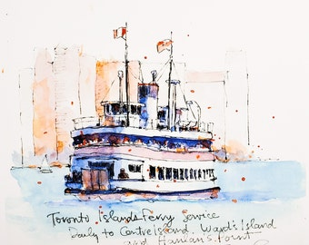 Watercolour Print - Toronto Islands Ferry