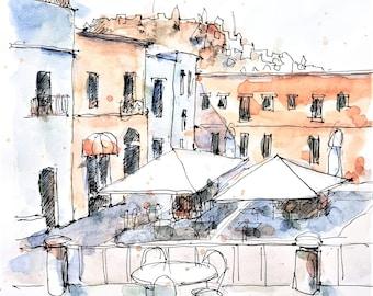 Watercolour Print - Italian Village Square