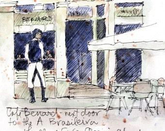 Watercolour Print - Cafe Benard, Lisbon, Portugal