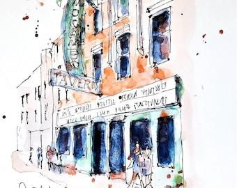 Watercolour Print - the El Mocambo bar, Toronto