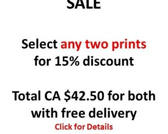SALE - any two Prints for 15% discount - select any from the shop