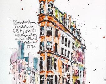 Watercolour Print - Gooderham Building, Toronto
