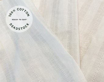 Whisper White Cotton Voile Eyelet Stripe Soft Fabric - Deadstock Vintage Vegan Fashion Sewing Fabric by the Yard - Continuous Cut