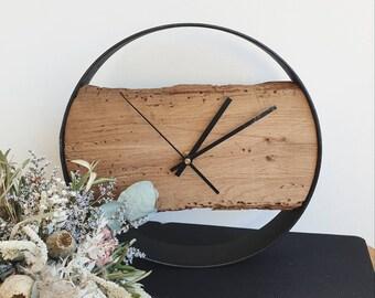 Wall Clock Oak Wood Metal