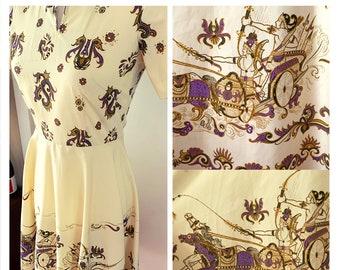 Vintage 1970's Does 1950's Shirtwaist Novelty Print Roman Chariot Print Dress