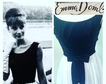 Vintage 1950s Audrey Hepburn style Emma Domb Velvet Dress
