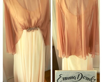 Vintage 1960's Emma Domb Chiffon Cocktail Gown with Beaded Overlay