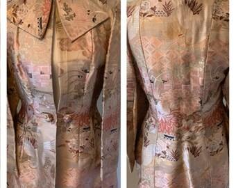 Vintage 1970s Shanghai Asian Silk Crane Print Jacket