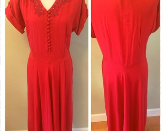 Vintage 1940's Silk Red Old Hollywood Glamour Dress with Floral Embroidery and Rhinestone Detail