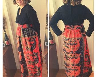 Vintage 1970's Rhapsody Velvet Bodice Long Sleeve Dragon Print Maxi Dress