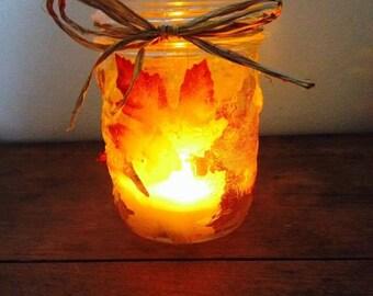 Fall Leaves Mason Jar Tea Light Candle Holder - Autumn Halloween