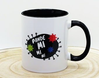 """Printed cup with slogan """"Pandemimimi"""" two-tone inside black outside white - printed on both sides"""