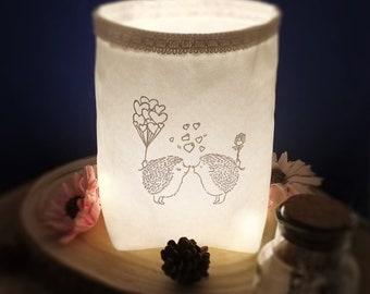 Light bag with hedgehogs, autumnal, light bag, light bag, lantern, mood light, decoration, Christmas
