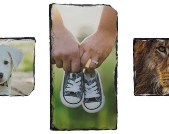 Rectangular photo slate including 2 feet - Printed slate - Alternative picture frame - Various shapes possible